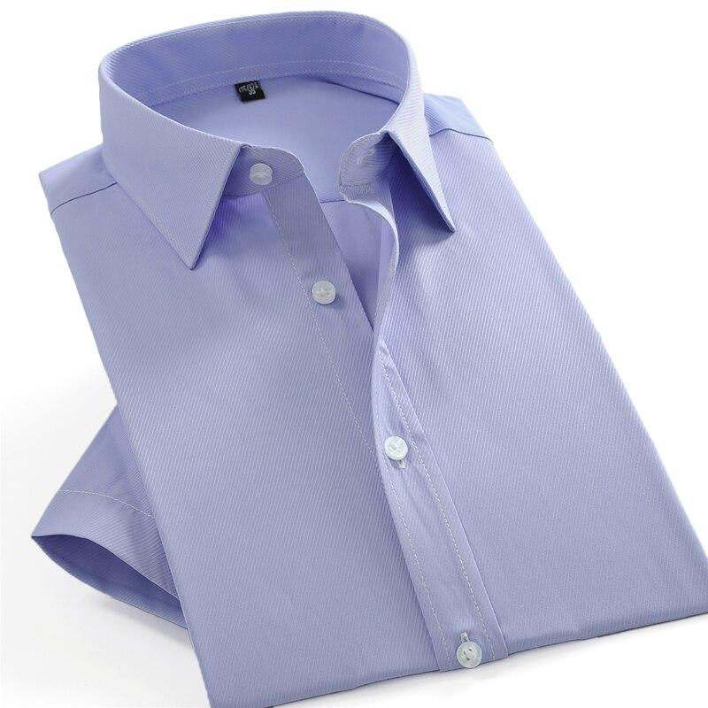 ผู้ชายฤดูร้อนแขนสั้นทึบ Basic เสื้อชุดชายธุรกิจมาตรฐาน-Fit เสื้อทำงานสำนักงานเสื้อ