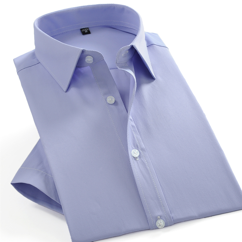 Men's Summer Short Sleeve Solid Twill Basic Dress Shirts Formal Male Business Standard-fit Casual Blouse Work Office Tops Shirt