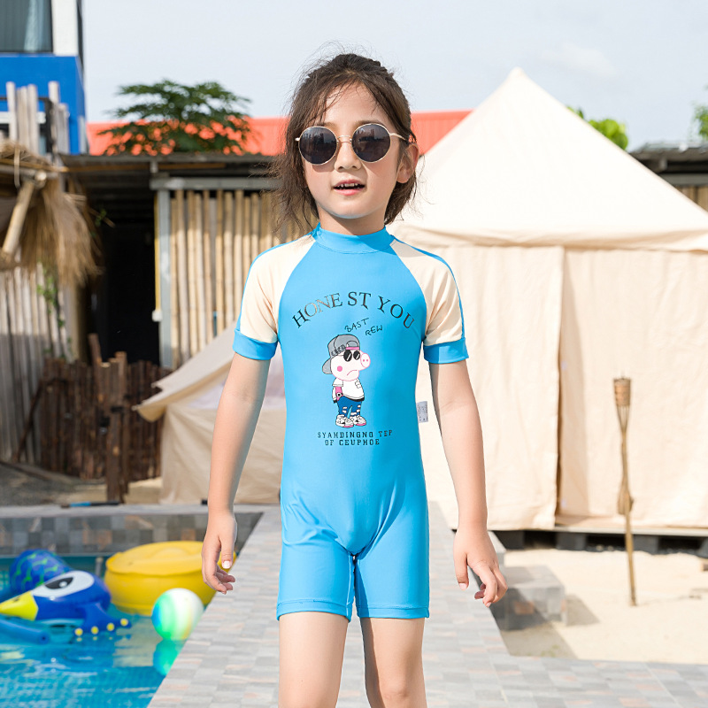 New Style South Korea Children Cartoon One-piece Swimming Suit Baby Piggy  Swimwear Quick-Dry Boxer Swim Bathing Suit Hot Spring
