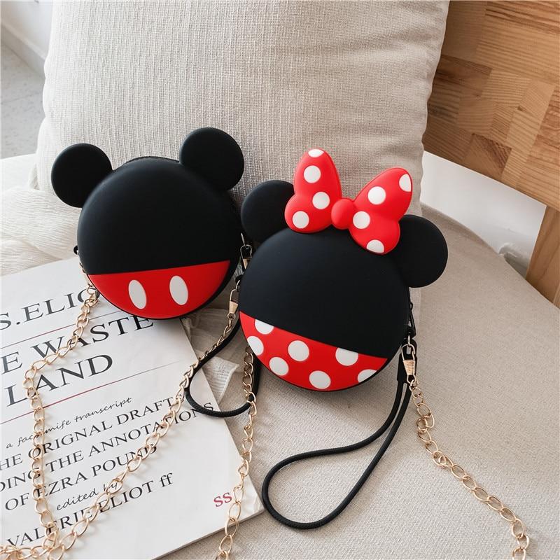 Q UNCLE Cartoon Minnie Mickey Pattern Coin Purse Girls Purse Kawaii Mini Wallet Chain Zipper Silicone Headphone Key Storage Bag