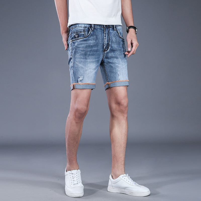 Mens Breathable High Stretch Denim Shorts Male Summer Ripped Hole Casual Jeans Shorts Distressed Straight Short AA11492