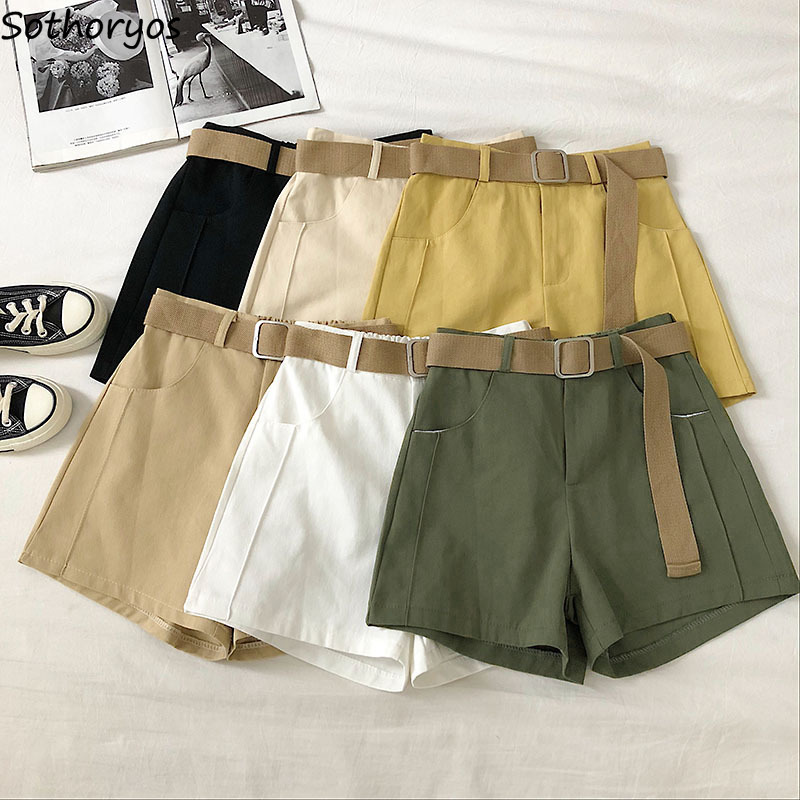 Shorts Women High-waists Sashes Solid Elastic-waist Spring Simple Fashion Leisure Students All-match Elegant Femme Khaki Vintage
