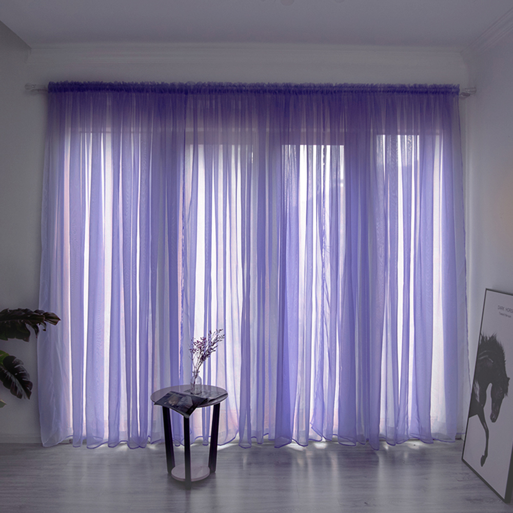 35Solid Color Sheer Curtain Window Tulle Curtain For Living Room String Curtains Drape Panel Sheer Bedroom Window Treatments