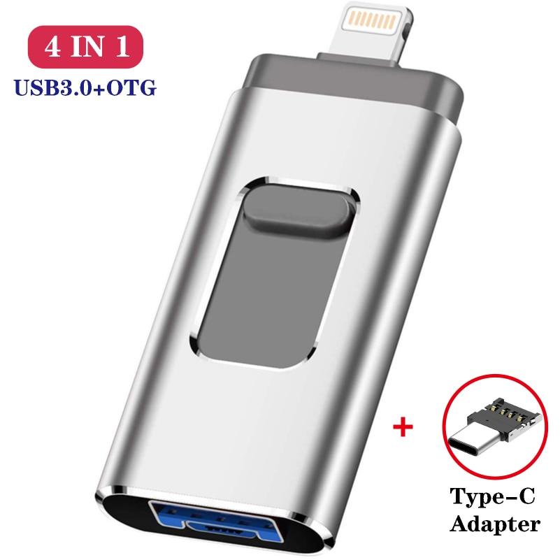 Metal OTG Usb Flash Drive 32GB 128GB 256GB Pendrive External Storage For Iphone X 8 7 Plus 6 6s Plus 5S Ipad Macbook