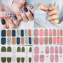 14 Tips Nail Art DIY Full Cover Stickers Self Adhesive Polish Foils Tips Glitter Gradient Shiny Nail Wraps 7Sheets Kits Manicure стоимость