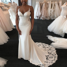 Charming Mermaid Wedding Dresses African Spaghetti Criss Cross Back Bridal Gowns Lace Appliques Sweep Train Wedding Dress white suede criss cross back mini slip dress