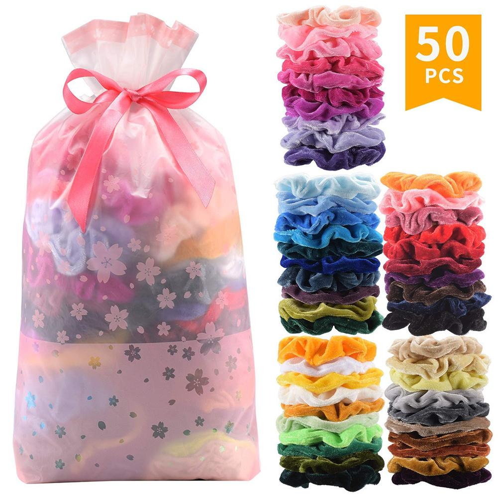 3/50 Pcs Colors Korea Velvet Hair Scrunchie Elastic Hair Bands Solid Color Women Girls Headwear Ponytail Holder Hair Accessories