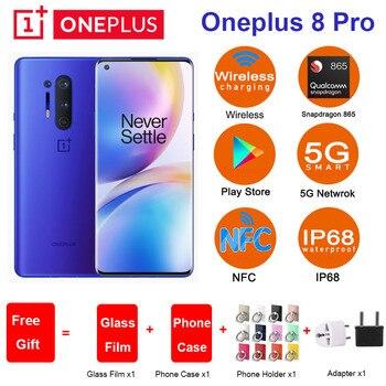 Купить Глобальная ROM Oneplus 8 pro 5G мобильный телефон 6,78 дюймSnapdragon 865 четыре задние камеры 48MP 8MP 48MP 5MP двойная SIM 8/12GB 128/256GB телефон