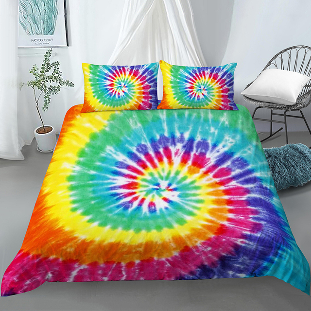 Kids Tie Dye Fitted Sheet Rainbow Spiral Swirl Bed Cover Orange Blue Pink Psychedelic Art Design,Boho Hippie Bohemian Gypsy Room Decorative Bedding Set Twin Girls,Yellow Turquoise Green,Soft,Trippy