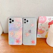 For iPhone SE 2020 11 Pro Max 3D Flower Laser Clear Soft Epoxy Transparent Back Cover Case For iPhone XR XS X 8 7 Plus 6S 6 недорого
