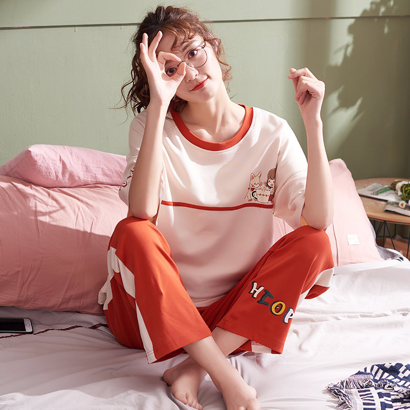 Pajamas Female Summer 6535 Knitted Cotton Short Sleeve Korean-style Women's Japanese Korean Thin Tracksuit Spring And Autumn Tro