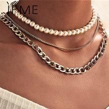 Se me moda multicamadas grossas pérola gargantilha colar para mulheres declaração ouro cubana corrente colares colar jóias presente