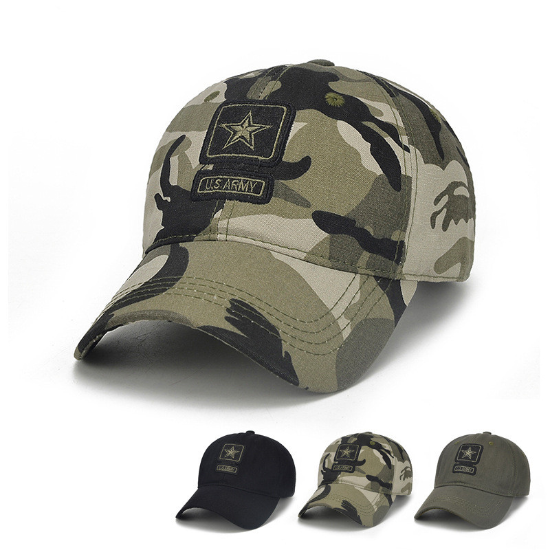 New Men Camouflage Baseball Cap Army Embroidery Cotton Tactical Snapback Dad Hat Male Summer Sports America Trucker Cap