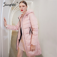 Jacket Parka Women Coat Warm Pink Long Winter Female Elegant Fashion Casual Simplee