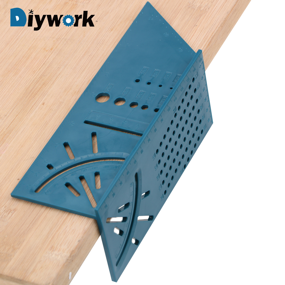 DIYWORK 45 Degree And 90 Degree Square Measure Tool Angles Measure Ruler Woodworking Gauge Ruler 3D Mitre Angle Measuring