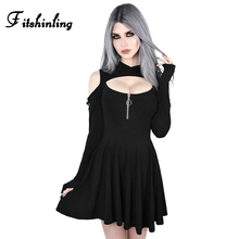 Fitshinling Open Shoulder Gothic Dresses Women Clothing Punk Harajuku Solid Black Hoody Dress Autumn Slim Sexy Short Vestidos недорого