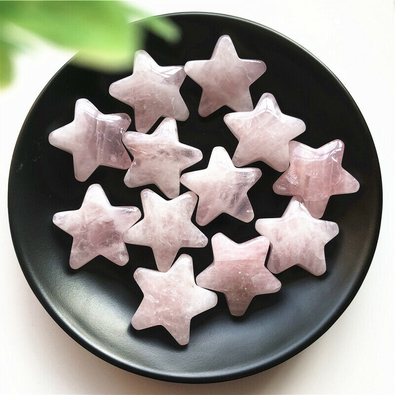 1PC Natural Pink Quartz Crystal Star Shaped Meditation Healing Chakra Polished Gift Natural Stones And Minerals
