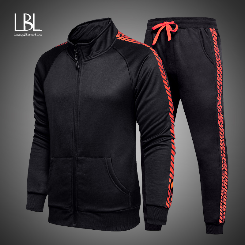 Brand New Zipper Men Sets Fashion Autumn Winter Jacket Sporting Suit Sweatshirt+Sweatpants 2 Pieces Sets Slim Tracksuit Clothing