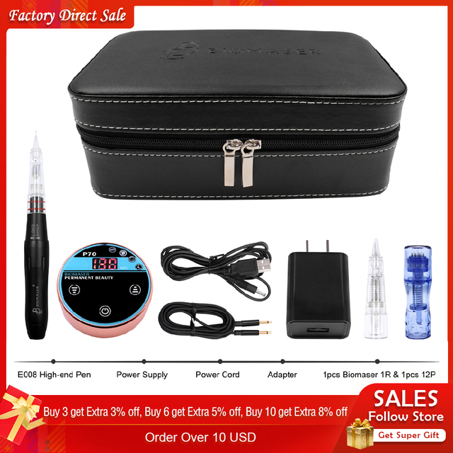 BIOMASER Valentines Day Gift Permanent Makeup Tattoo Machine For Eyebrow Lips Embroidery Digital Machine Strong Best for women
