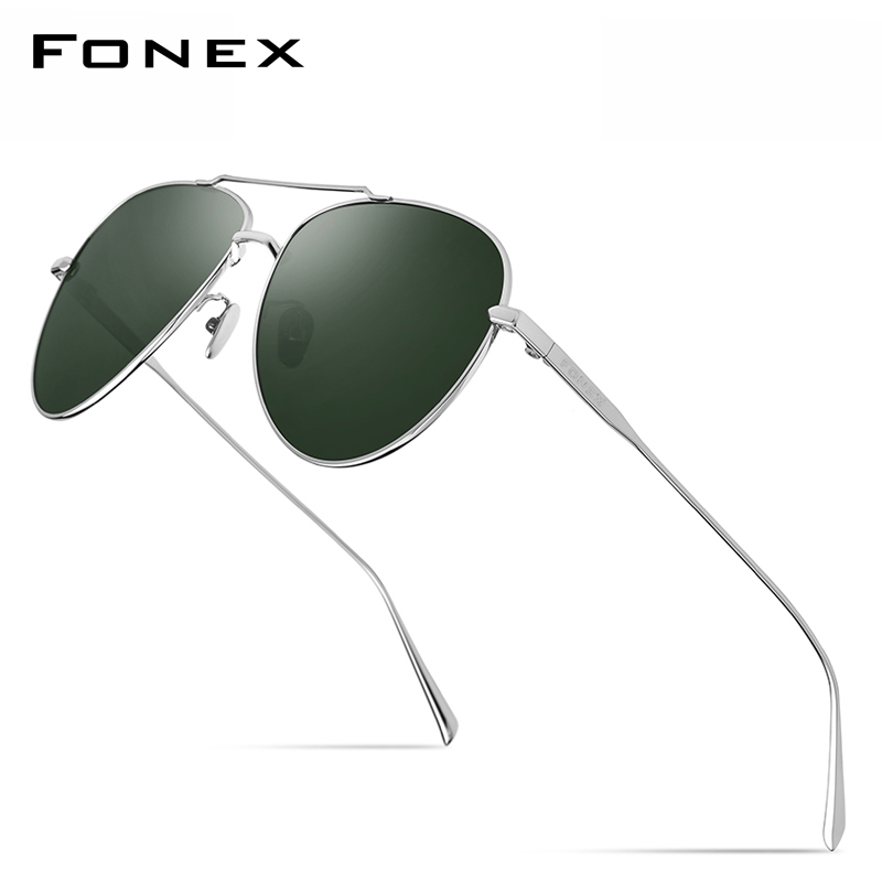 FONEX Pure Titanium Polarized Sunglasses Men Aviation Sun Glasses for Men New Driving Outdoor Aviador UV400 Shades 8507|Men's Sunglasses| - AliExpress
