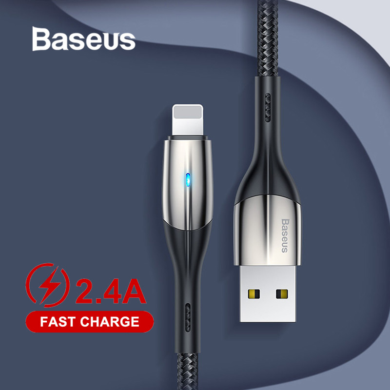 Baseus 2.4A Lighting USB Cable for iPhone XR Xs X 8 7 6 Plus Fast Charging USB Charger Cable Mobile Phone Charger Cord Data-in Mobile Phone Cables from Cellphones & Telecommunications on AliExpress