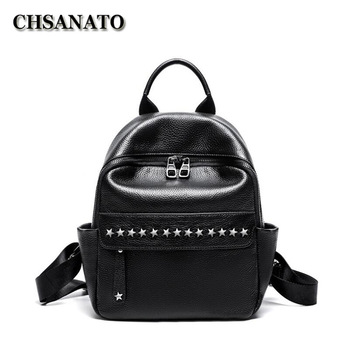 CHSANATO England Style Mini Women Backpacks Genuine Leather Fashion School Bag Small Backpack for Girls Real Leather Bagpack