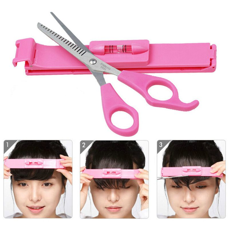 Women Girls Professional Hair Cutting Leveler Bangs Clipper Guide Tools Set Home DIY Hairdressing Scissor Ruler Styling Kit