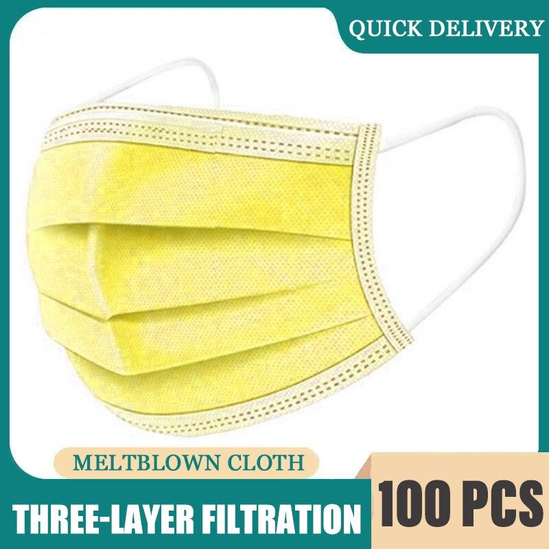 10/50/100 pces descartável não-tecido três-camada máscara respirável com brincos elásticos adulto respirável luz máscara amarela