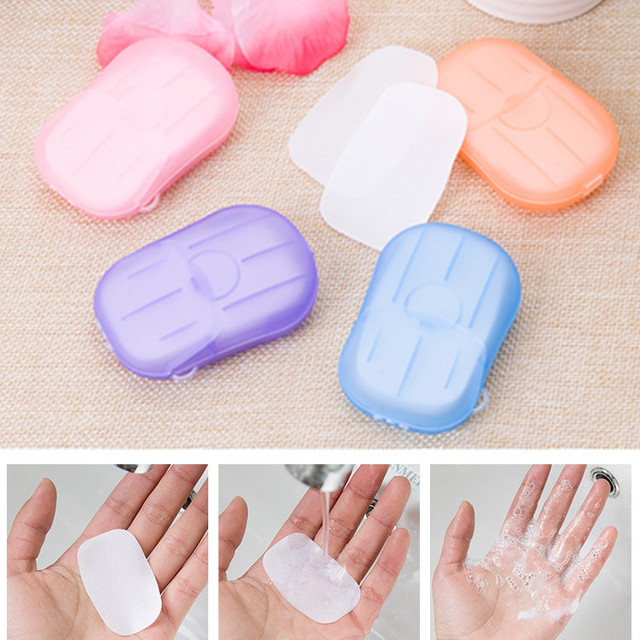 2Packs Disposable Soap Paper Travel Boxed Portable Hand Washing Box Scented Slice Sheets Mini Soap Paper Outdoors Clean Tools
