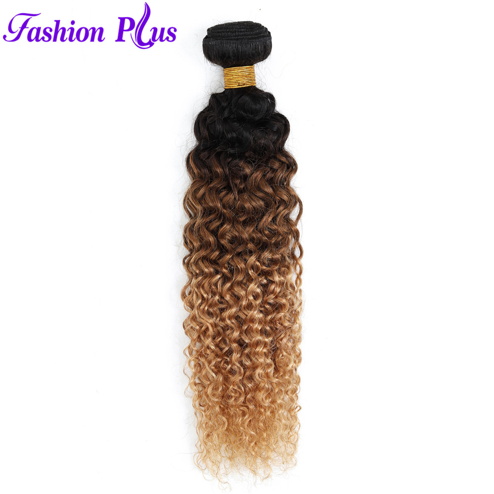 Full And Thick Remy Brazilian Jerry Curly Hair Bundles 3/4 Bundles Deal 3 Tone Honey Blonde Ombre Human Hair Weave Bundles