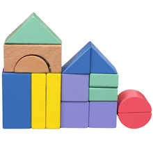 цены Baby Toy Wooden Block 15 Pcs Wooden Chopping Block with Card Colorful Intelligence Educational Toy