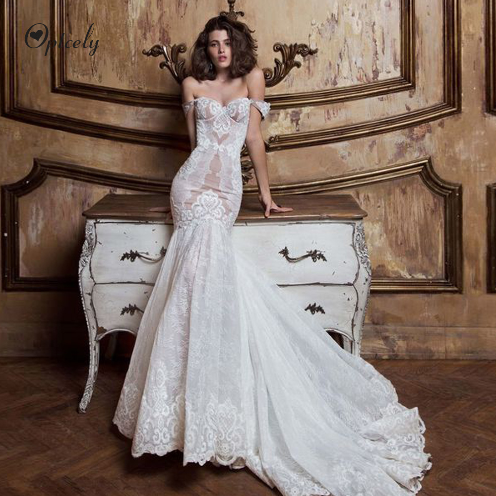Optcely Vintage Royal Mermaid Off-the-shoulder Backless Lace-Up Wedding Dress 2019 Appliques Beading Bride Gowns Robe De Mariee