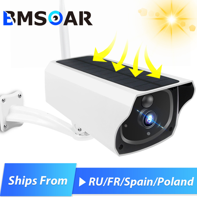 Outdoor Solar Security Camera 1080P Wireless WiFi Camera Solar Panel Rechargeable Battery Bullet PIR Motion Alarm Two Way Audio 1