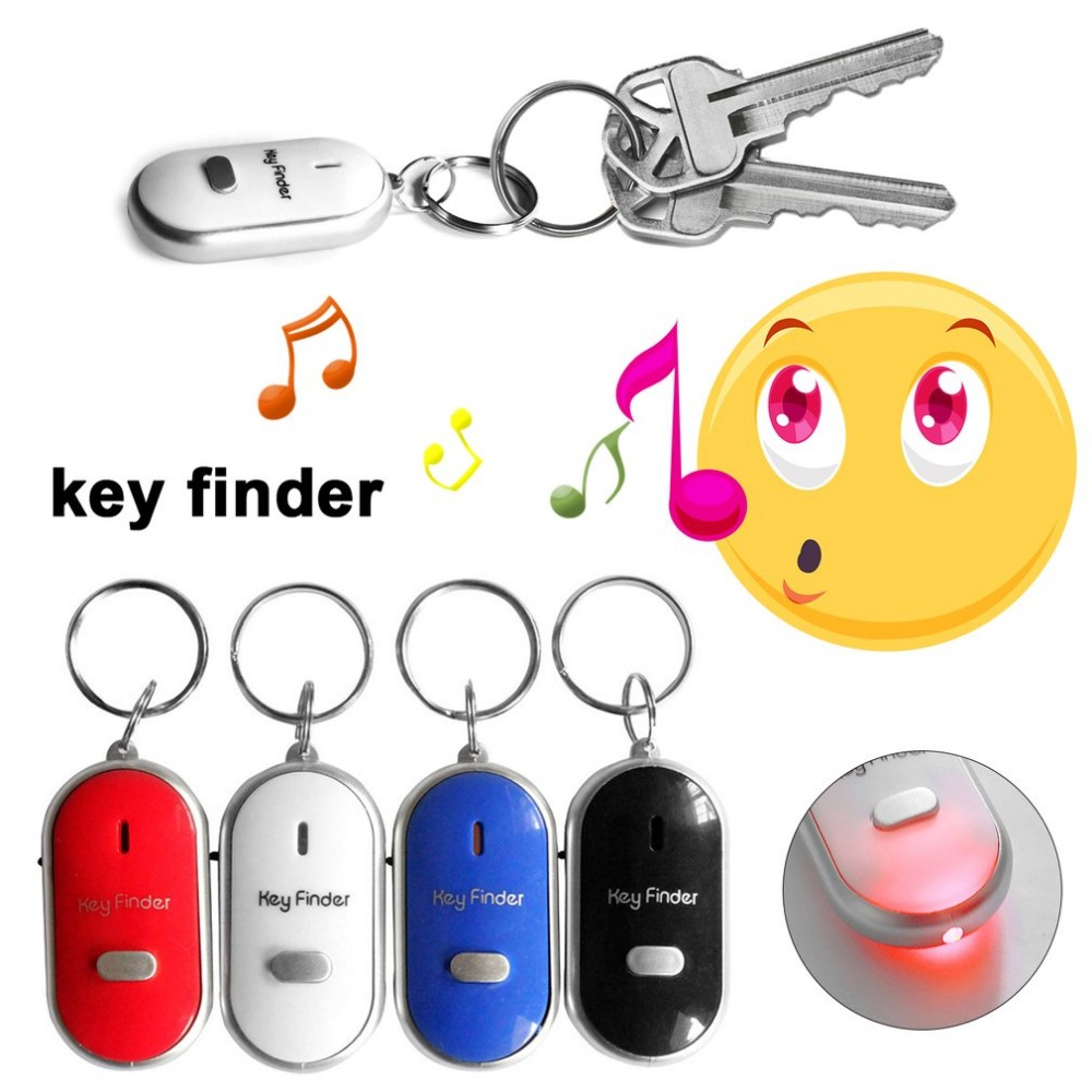 LED Whistle Key Finder Flashing Beeping Sound Control Alarm Anti-Lost Keyfinder Locator Tracker With Keyring 4 Colors For Choice