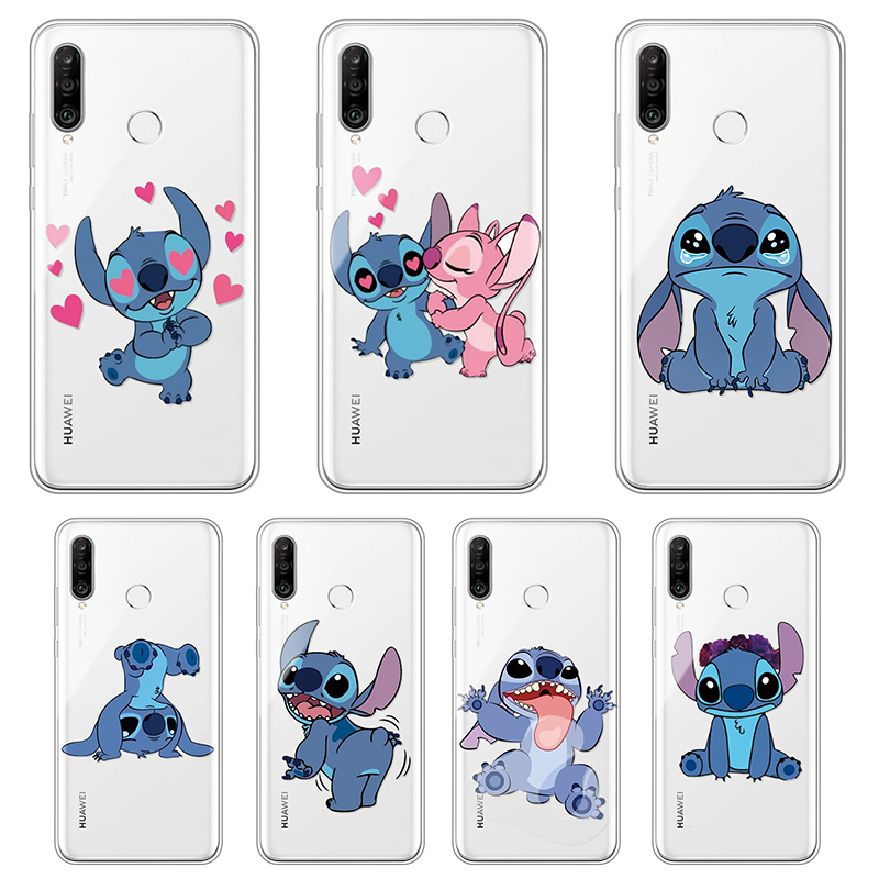 Cartoon stitch Phone Case For Huawei P30 P20 P40 Pro Lite 2019 E P10 P9 Lite Silicone TPU Cover Etui Funda