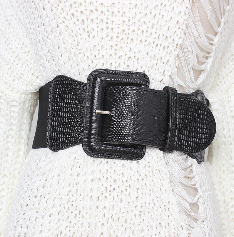 Women's Runway Fashion Elastic Pu Leather Cummerbunds Female Dress Corsets Waistband Belts Decoration Wide Belt R1990