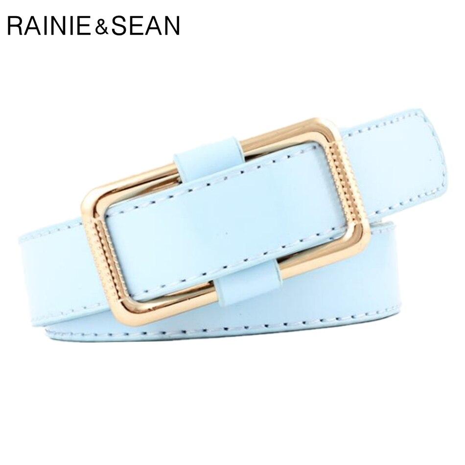RAINIE SEAN Women Belt Without Holes Light Blue Belt Women Korean Fashion 2020 New Arrival Female Belt No Holes