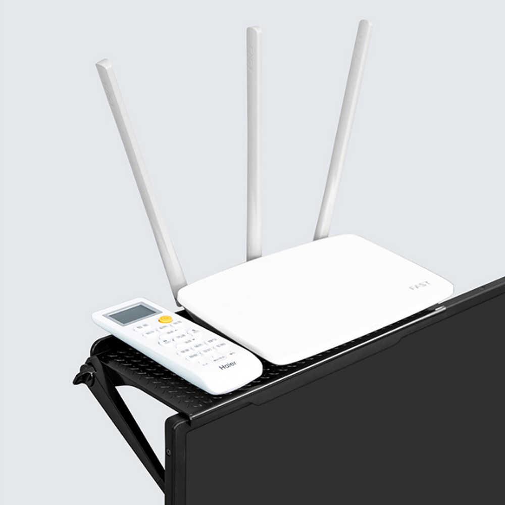 1 قطعة رف تخزين متعددة الوظائف التلفزيون شاشة كمبيوتر رف شاشة تخزين الشاشة قوس حامل أرفف قابل للتعديل