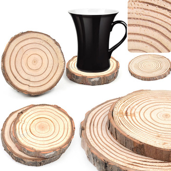 Round Natural Round Wooden Slice Cup Mat Durable Drink Coaster Placemat For Dining Table Mat DIY Tableware Decoration Hot Sale