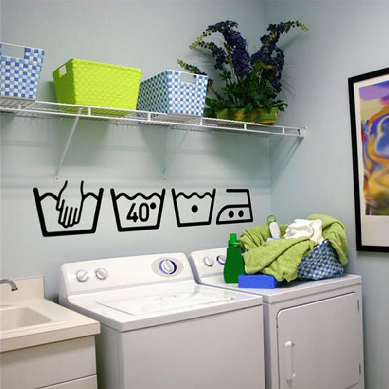 Creative Design Washing Machine Sign Wall Sticker Home Laundry Room DIY Decorative Art Wall Door Sticker Removable Wall Stickers(China)