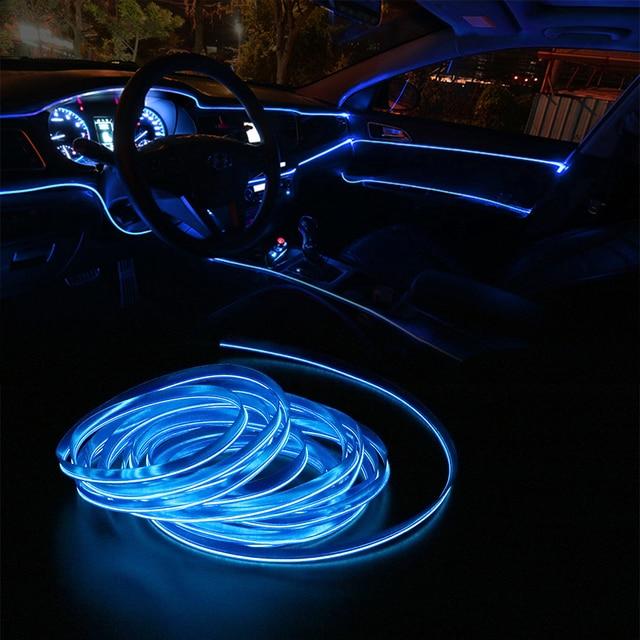 Tiras de luces LED frías para coche, 5m, 12V, Lámpara decorativa Flexible, decoración Interior de alambre de neón