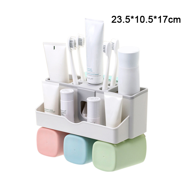 Large Capacity Toothbrush Holder Wall Mount Storage Rack with Automatic Toothpaste Dispenser XH8Z image