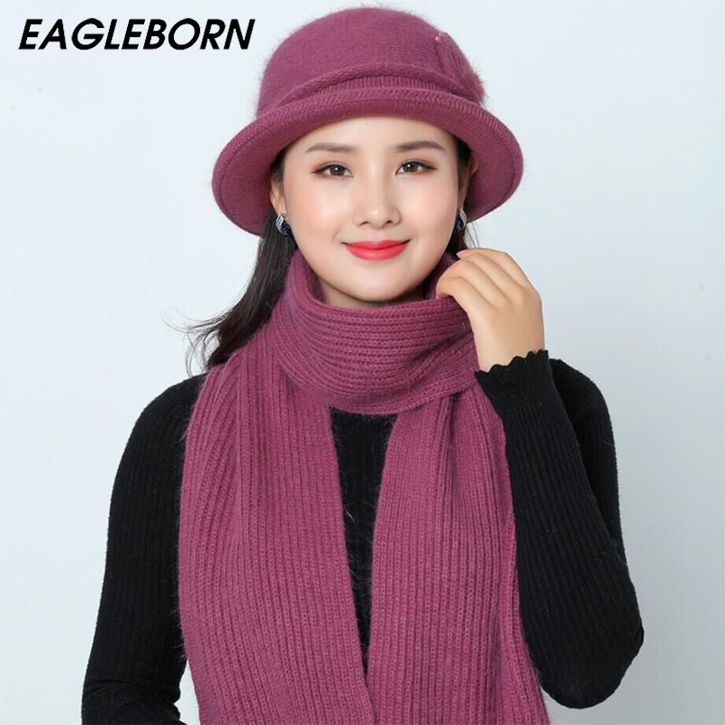 Winter Mom Hat And Scarf Set For Women Rabbit Fur Hat Scarves Set Winter Knitted Women Hat Bucket Hats Scarf Set Grandma Gift