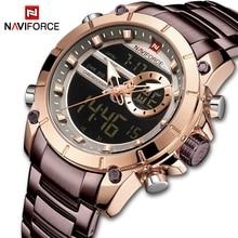 NAVIFORCE мужские часы Топ люксовый бренд мужские спортивные военные часы полностью стальные водонепроницаемые кварцевые цифровые часы Relogio Masculino