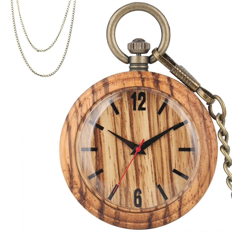 Classic Brown Wood Quartz Pocket Watch Full Wooden Pendant Watch Retro Bronze Hanging Chain Necklace Sweater Chains