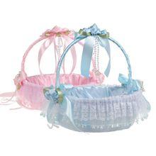Hot Sale Lace Flower Girl Basket Decorative Flower Basket For Western Style Wedding Ceremony Party Decoration Buckets