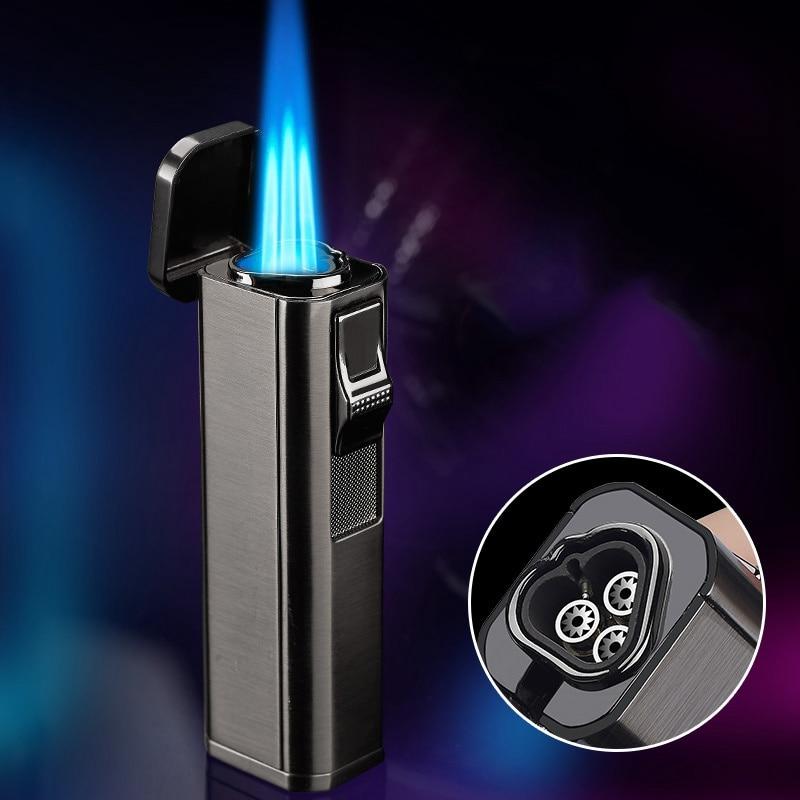 Металлическая ветрозащитная Зажигалка для сигар, бутановые зажигалки, резак для сигар, три струйных фонарь, пистолет-распылитель, голубое п...