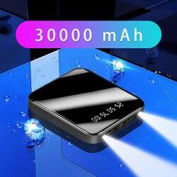 Mini Power Bank 30000mAh Portable Fast Charger Powerbank Full Screen Digital Display Power Bank External Battery Pack Poverbank