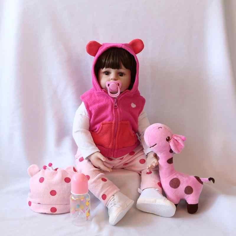 Npk Originele 47 Cm Babypop Krullend Haar Meisje Reborn Peuter Zachte Siliconen Met Katoen Lichaam Realistische Pop Spelen Speelgoed voor Kids