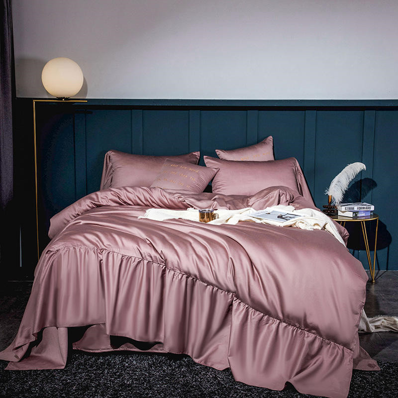Solid Color Long Ruffles Duvet Cover Pillow Shams Natural Egyptian Cotton Queen King Size 4Pcs Bedding Bed Sheet Set For Girls